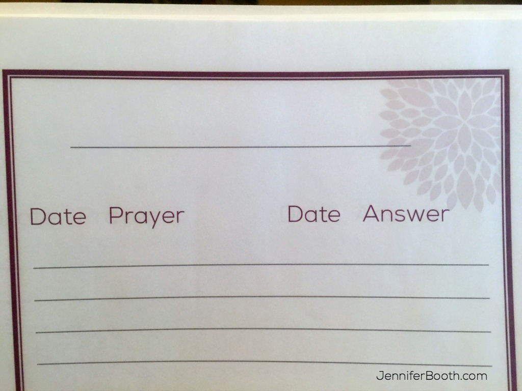 Blank Prayer Notebook Page