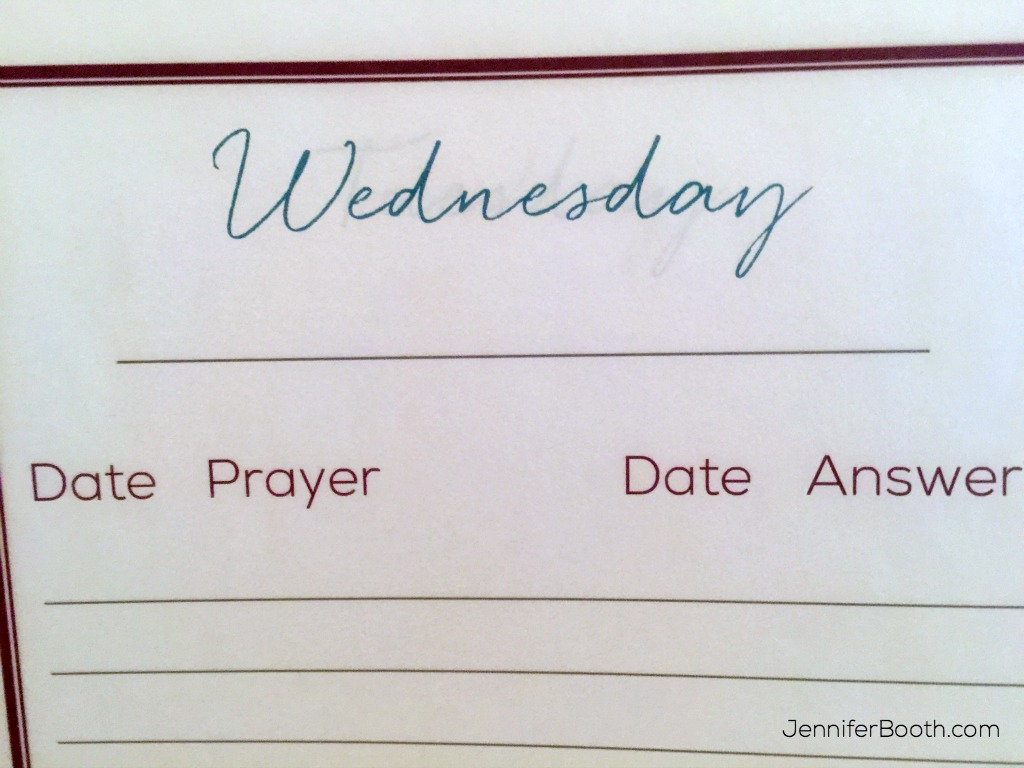 Wednesday Prayer Notebook Page