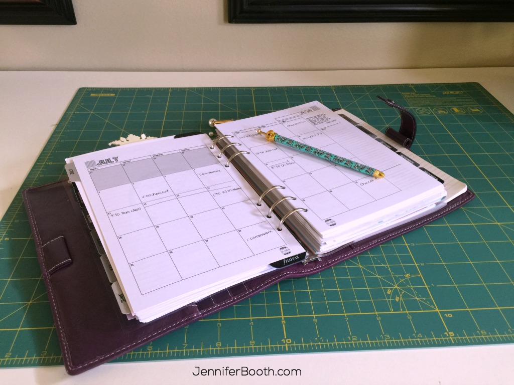 planner on craft table