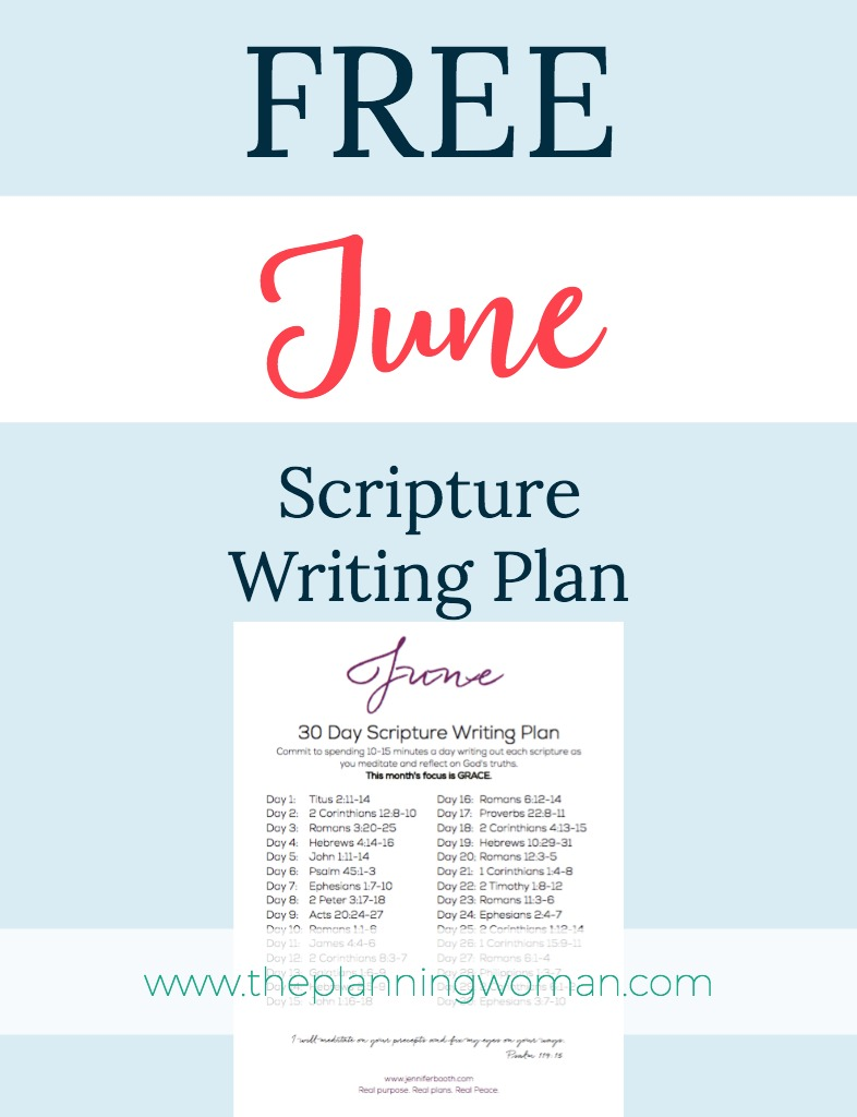 FREE Scripture Writing Plan-Join me this month in writing out verses about God's Grace.