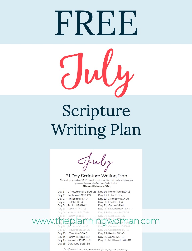 July Scripture Writing Plan - The Planning Woman