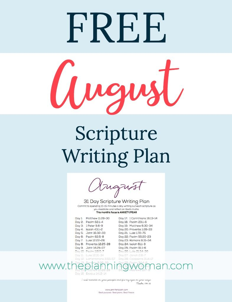 Join us this month as we write out scriptures about ANXIETY/FEAR.