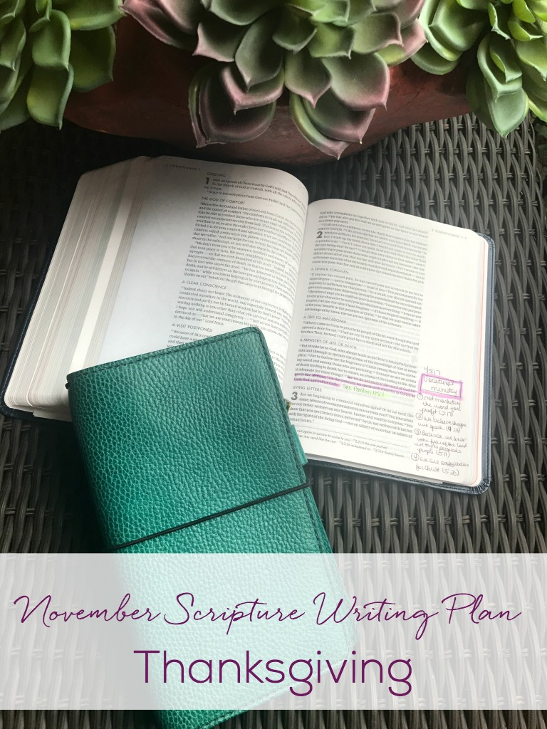 November Scripture Writing Plan-This month the focus is GIVING THANKS. Join me in writing out scriptures every day. you will be blessed and encouraged by being in God's Word every day.