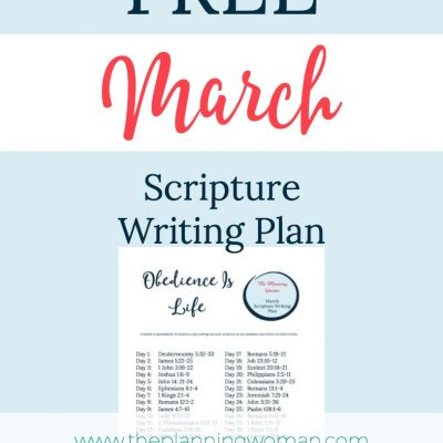 Obedience is Life-March Scripture Writing Plan