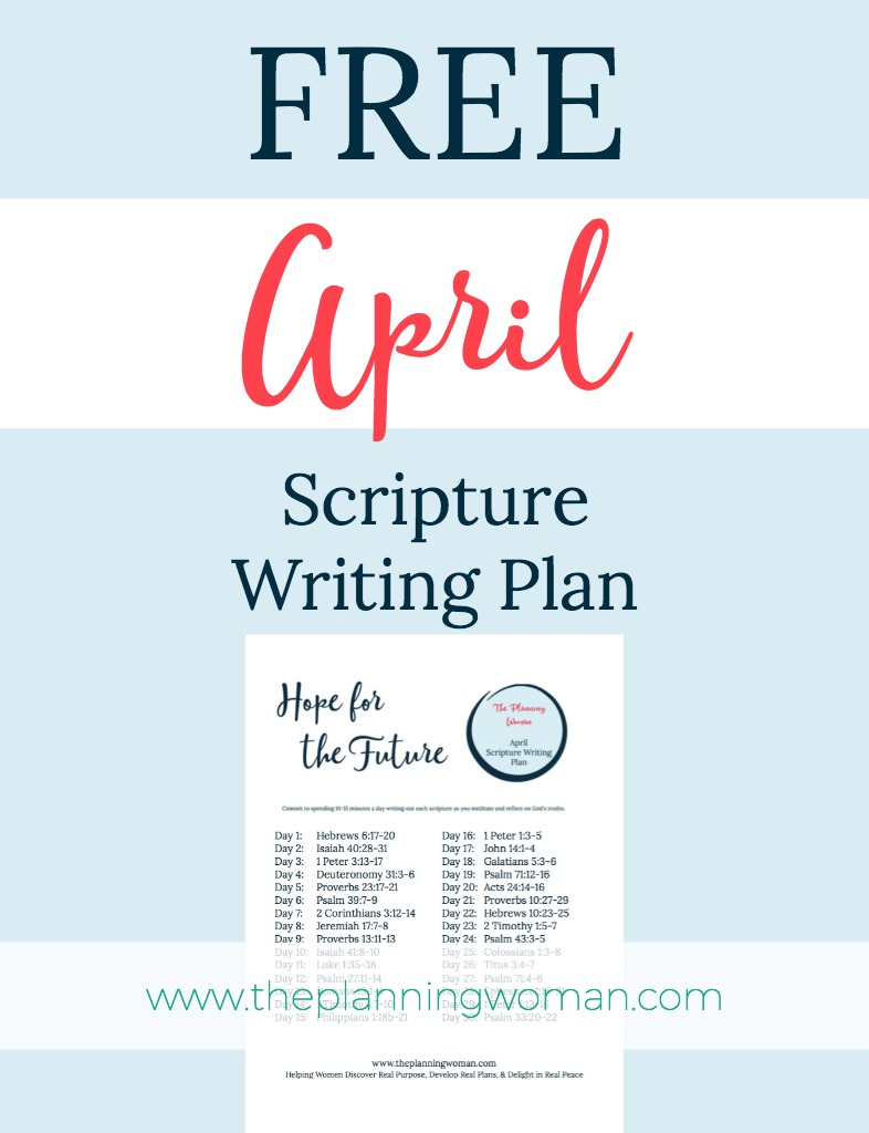 FREE Scripture Writing Plan-Join us this month to write out scriptures about HOPE. Spend just 10-15 minutes a day writing out each scripture as you meditate and reflect on God's truths.