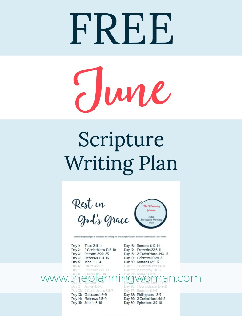 FREE Scripture Writing Plan-Join me in June in writing out verses about resting in God's grace.