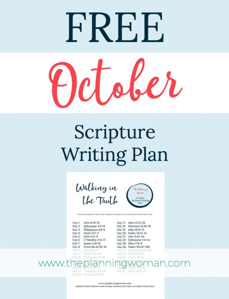 Walk in the Truth-October Scripture Writing Plan