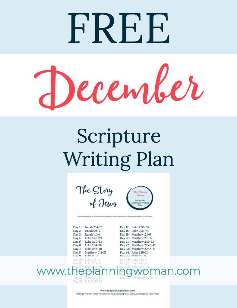 FREE Scripture Writing Plan-Join The Planning Woman in December in writing out scriptures that tell the story of Jesus.