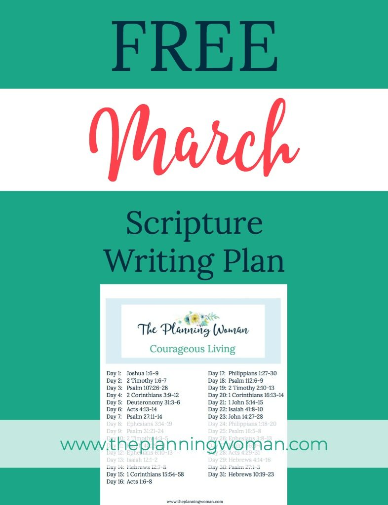 FREE Scripture Writing Plan-Join The Planning Woman this month as we write out scriptures about courage.