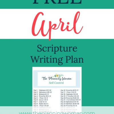 Developing Self Control-April Scripture Writing Plan