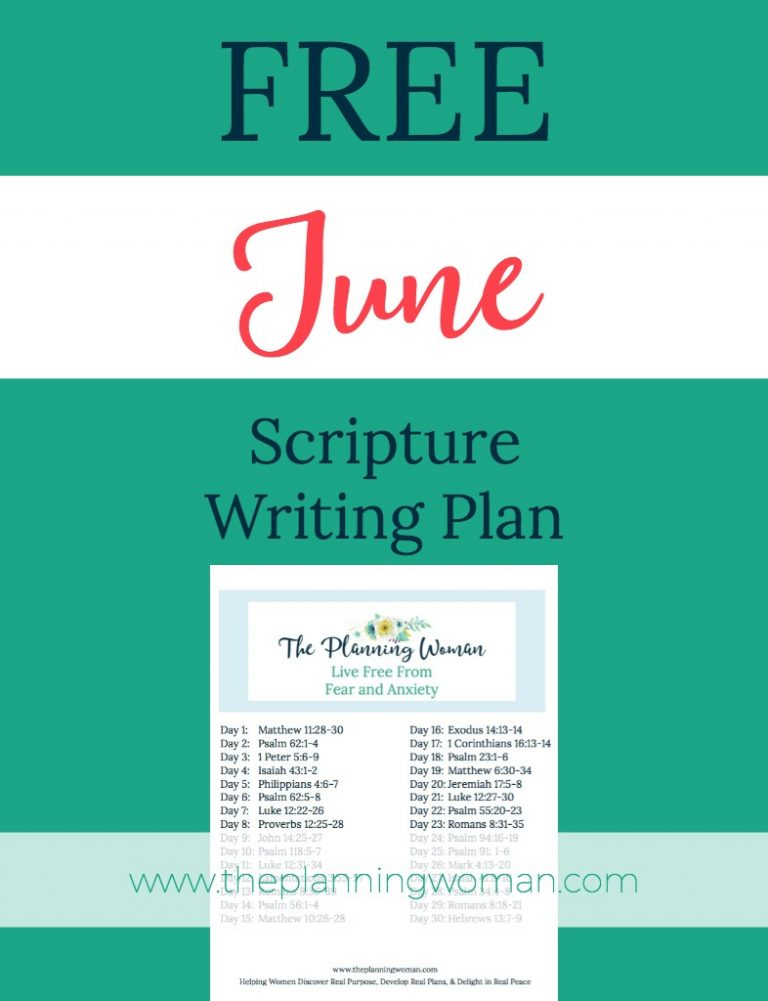 Live Free From Fear and Anxiety-June Scripture Writing Plan