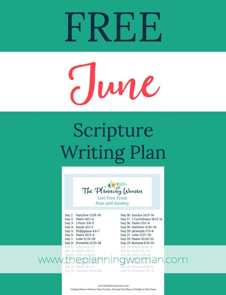 FREE Scripture Writing Plan-Join The Planning Woman writing out verses about how to live free from stress and anxiety.