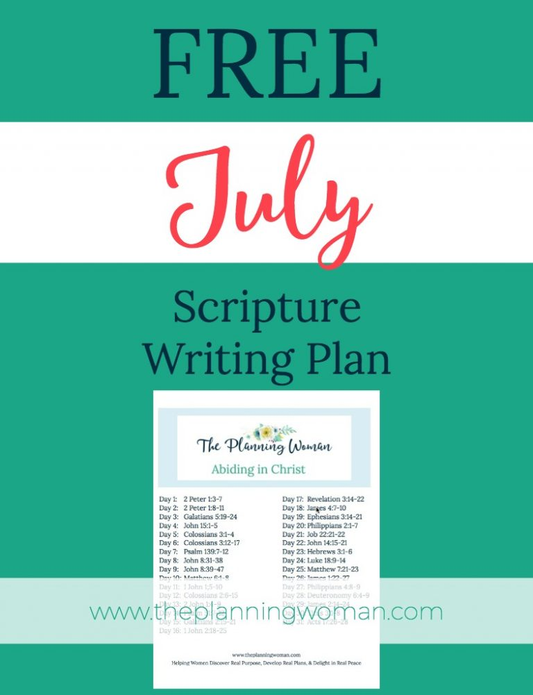 Abiding in Christ-July Scripture Writing Plan