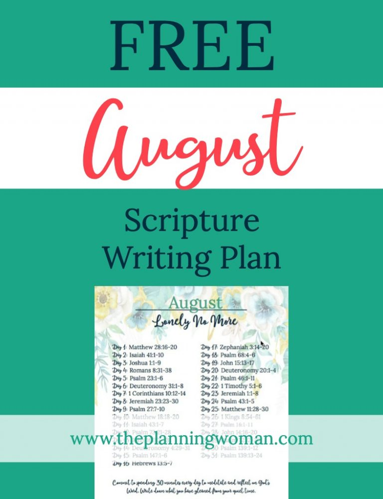 Lonely No More-August Scripture Writing Plan