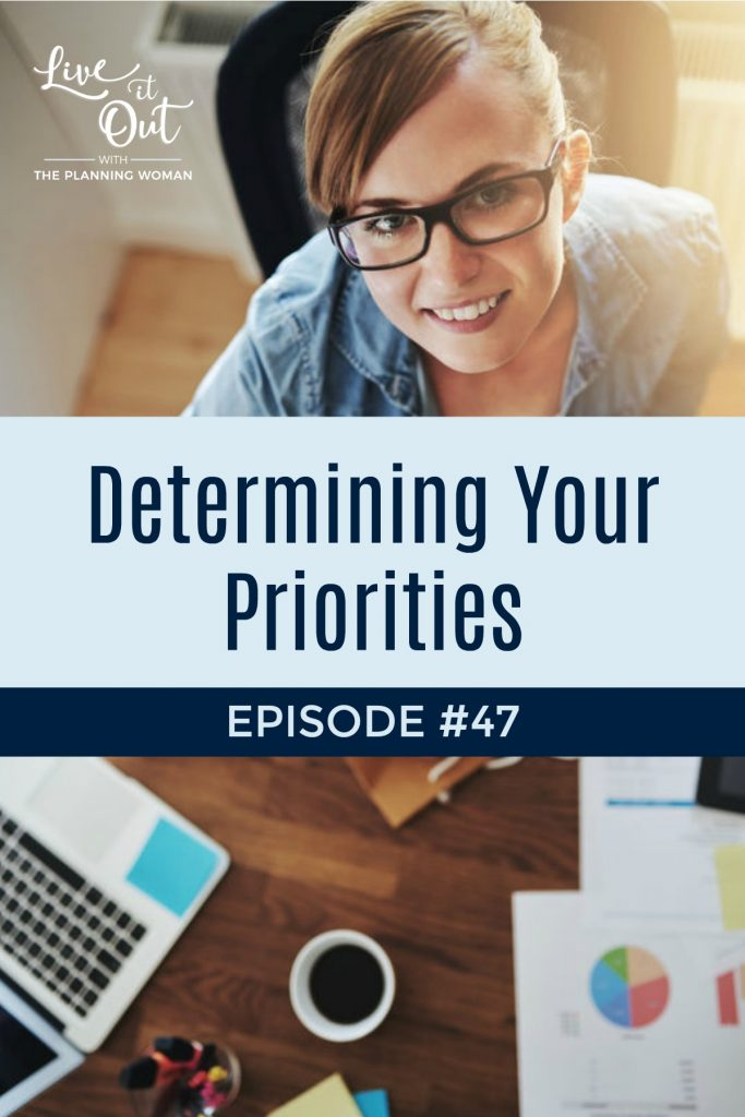 Is life crazy and hectic and you just don't know where to focus your time? Listen to this week's episode of Live It Out With The Planning Woman to learn 4 steps for determining your priorities.