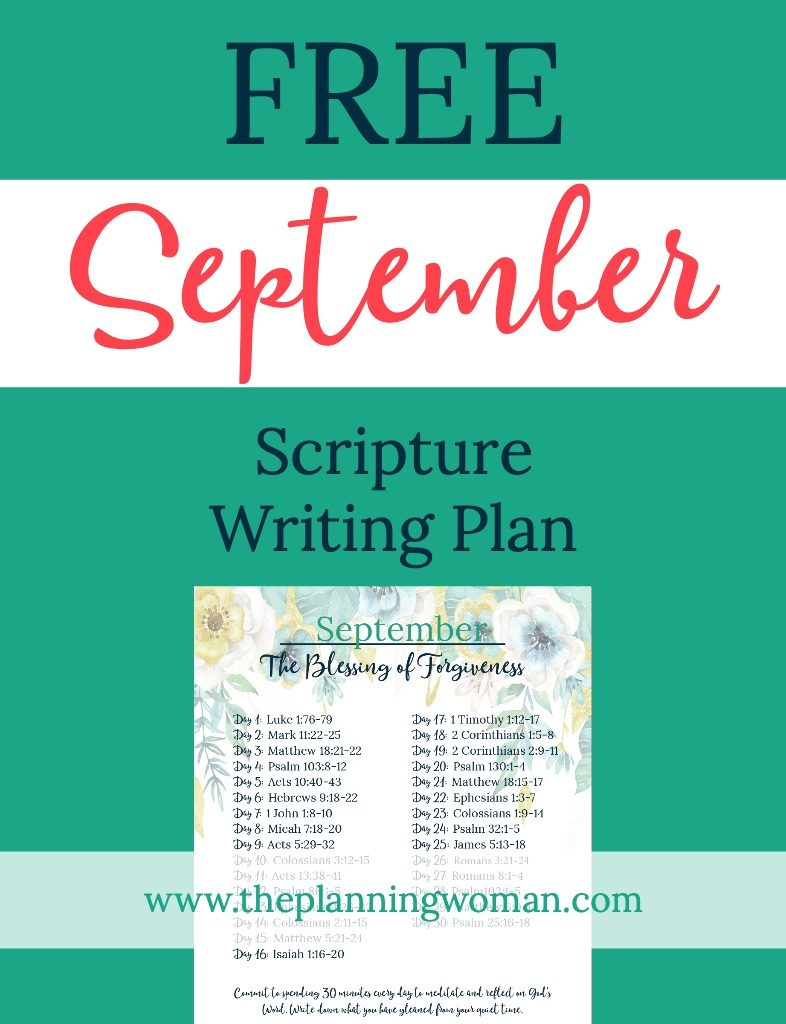 FREE Scripture Writing Plan-Join us this month in writing out verses about forgiveness.