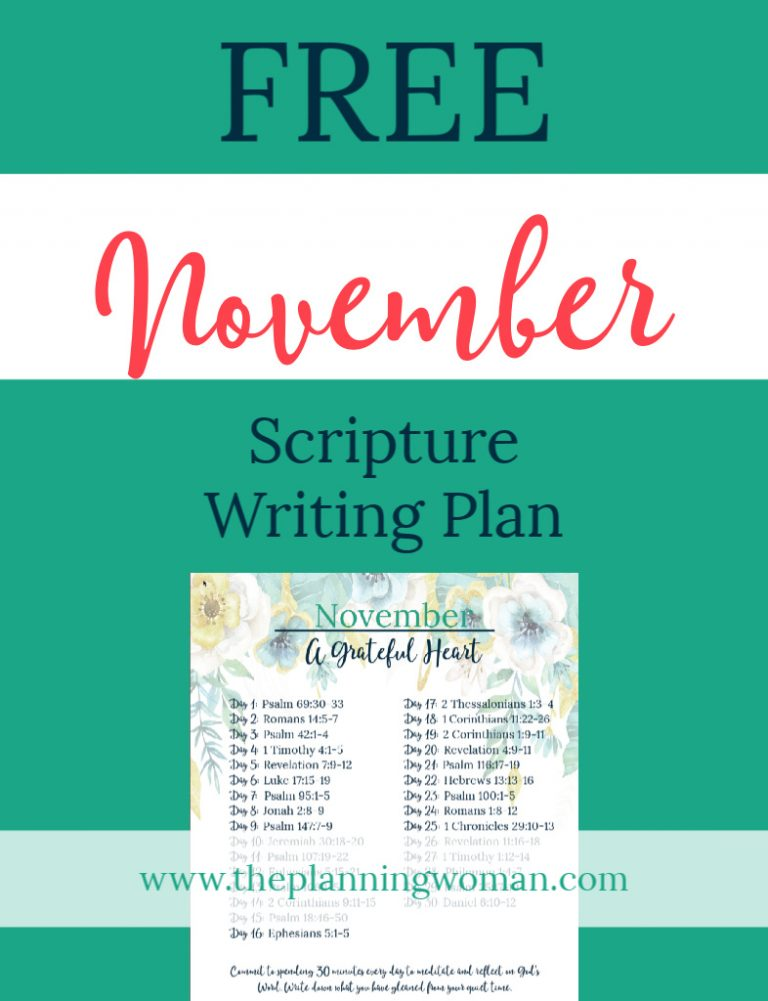 FREE Scripture Writing Plan-Join The Planning Woman in writing out verses about gratitude.