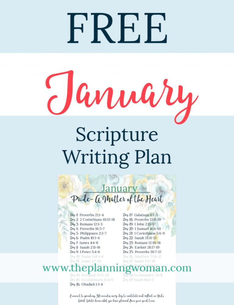 Pride:  A Matter of the Heart-January Scripture Writing Plan