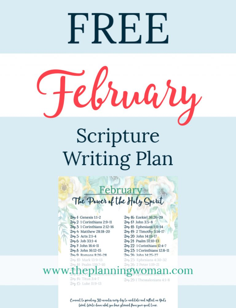 FREE Scripture Writing Plan-Join The Planning Woman in writing out scriptures about the Holy Spirit.