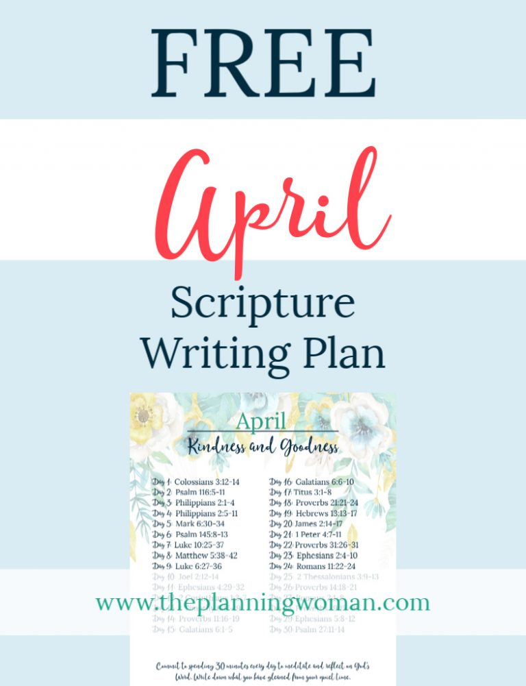 Kindness and Goodness-April Scripture Writing Plan