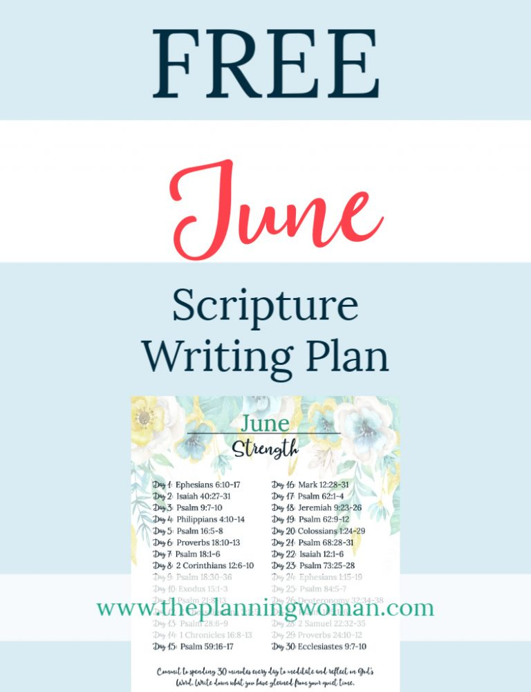 FREE Scripture Writing Plan-Join The Planning Woman community as we write out verses about strength.