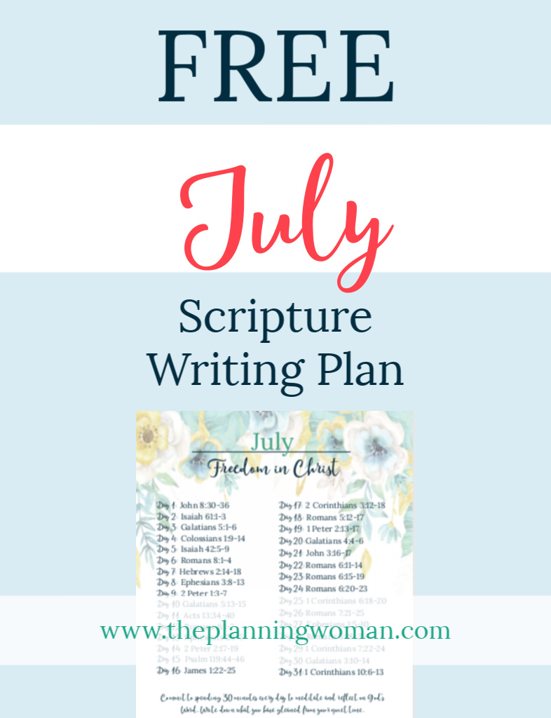 FREE Scripture Writing Plan-Join The Planning Woman as we write out verses about freedom in Christ.
