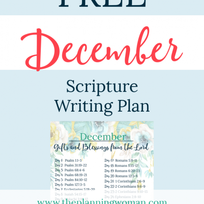 Gifts and Blessings From the Lord-December Scripture Writing Plan