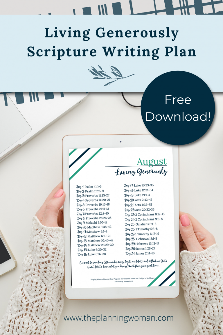 Living Generously-August Scripture Writing Plan